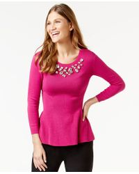 Cece by Cynthia Steffe - Embellished Peplum Top - Lyst