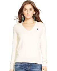 Polo Ralph Lauren Cotton-Blend V-Neck Sweater - Lyst