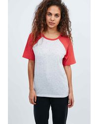 BDG - Neppy Baseball Raglan Tee In Ivory And Coral - Lyst