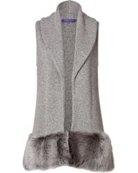 Ralph Lauren Collection Cashmeresilk Vest with Shearling Trim - Lyst