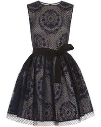 RED Valentino Mesh Overlay Stamp Bubble Dress - Lyst