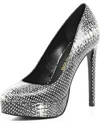 River Island Black and White Print Platform Pumps - Lyst