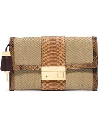 Michael Kors Gia Clutch Bag W/Lock & Python Trim - Lyst