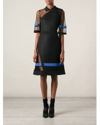 Emanuel Ungaro Contrasting Panels Belted Flared Dress - Lyst