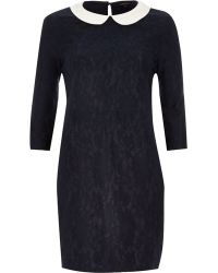 River Island Navy Lace Contrast Collar Shift Dress - Lyst