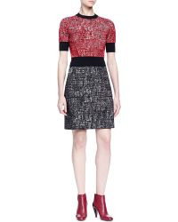 Lanvin Short-Sleeve Colorblock Tweed Dress - Lyst