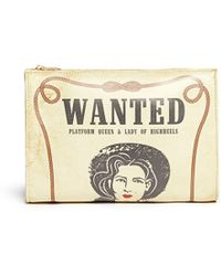 Charlotte Olympia 'Wanted' Poster Print Leather Clutch - Lyst