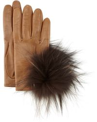Inverni - Leather Gloves With Fox Fur - Lyst