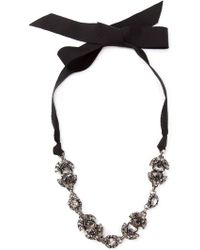 Lanvin Crystal Ribbon Necklace - Lyst