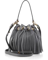 Milly Essex Small Fringed Hobo Bag gray - Lyst