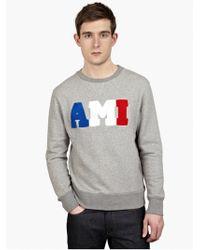 AMI Men'S Grey Logo Sweatshirt - Lyst