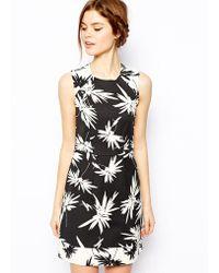 Oasis Mono Palm Print Shift Dress - Lyst