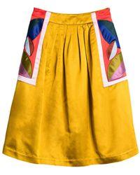 Cynthia Rowley Satin Leaf Applique Full Skirt - Lyst
