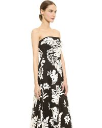 Notte By Marchesa Embroidered Strapless Dress - Blackwhite - Lyst