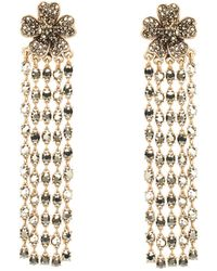 Oscar de la Renta Multistrand Crystal Flower Earrings - Lyst