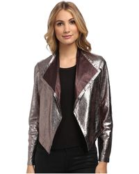 Nicole Miller Non-stretch Leather Jacket - Lyst