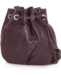 Topshop Mini Leather Duffle Bag - Burgundy - Lyst