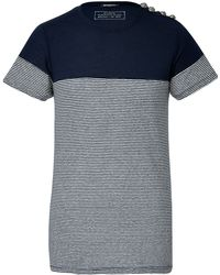 Balmain Linencotton Striped Tshirt - Lyst