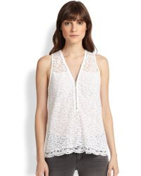 The Kooples Zip-Front Lace Top - Lyst