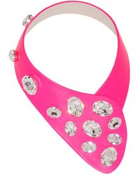 FLorian Pink Leather Collar - Lyst