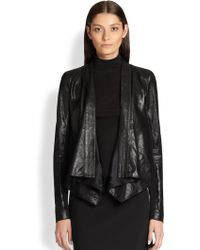 Donna Karan New York Jersey-Insert Leather Jacket - Lyst
