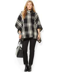 Lauren by Ralph Lauren Plus Size Wool-blend Plaid Poncho - Lyst