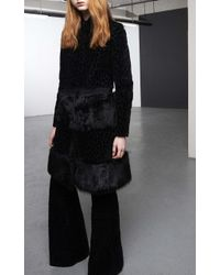 Giambattista Valli Velvet Coat With Patched Fur - Lyst