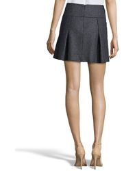 Vince - Heather Charcoal Stretch Wool Blend Pleated Mini Skirt - Lyst
