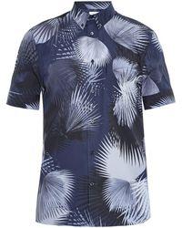 Façonnable - Leaf-print Cotton-poplin Shirt - Lyst