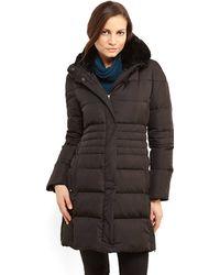 Elie Tahari Black Roberta Real Fur Collar Down Coat - Lyst