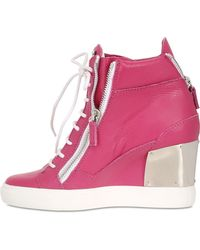 Giuseppe Zanotti 90Mm Tumbled Leather Wedge Sneakers - Lyst