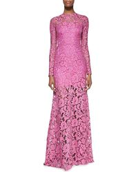 Alexis Belgrade Lace Long-sleeve Gown Orchid X-small - Lyst