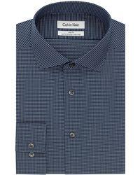Calvin Klein Slim Fit Micro Check Dress Shirt - Lyst