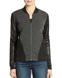Calvin Klein Jeans Faux Leather Jacquard Bomber Jacket - Lyst