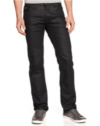 Guess - Lincoln Coated Black Wash Slim Straight Jeans - Lyst