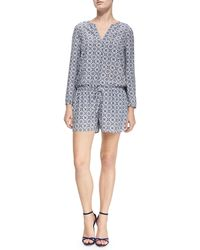 Joie Rialto Printed Long-Sleeve Jumpsuit - Lyst