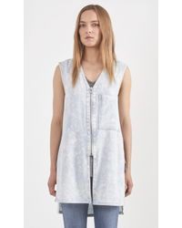 Helmut Lang Sleeveless Bleached Zip Shirt blue - Lyst
