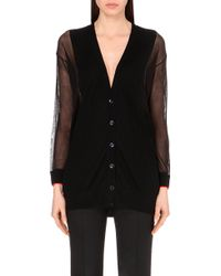 Paul Smith Black Label Sheer-Panel Wool Cardigan - For Women - Lyst