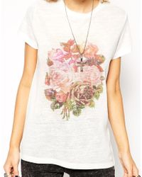 Asos T-Shirt With Pretty Floral Print In Texture - Lyst