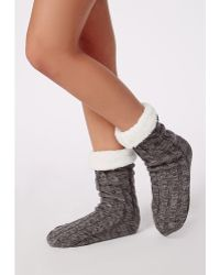 Missguided - Chunky Cable Knit Slipper Socks Grey - Lyst