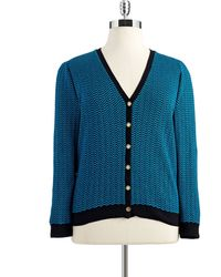 Anne Klein Plus Buttondown Chevron Cardigan - Lyst