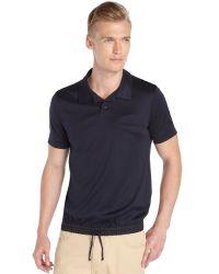 Giorgio Armani Navy Cotton Knit Short Sleeve Drawstring Waist Polo Shirt - Lyst