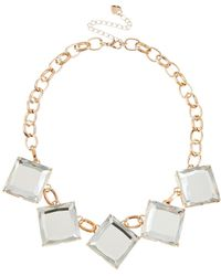 Lipsy - Square Crystal Necklace - Lyst