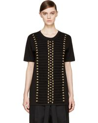 Balmain Black and Gold Rope Embroidered T_shirt - Lyst