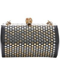 Alexander McQueen Black Leather Skull Detail Studded Hexagonal Clutch - Lyst