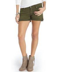James Jeans Safari Green Stretch Cotton Slouchy Fit Boyfriend Shorts - Lyst