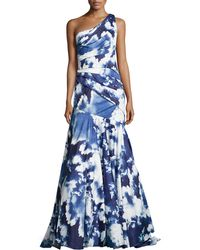 Ml Monique Lhuillier Oneshoulder Skyprint Gown - Lyst