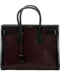 Saint Laurent Cherry And Black Leather 'Sac De Jour' Top Handle Large Tote - Lyst