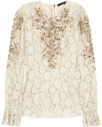 Dolce & Gabbana Embellished Lace Top - Lyst