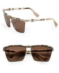 Lanvin Snake-Embossed Leather-Trim Square Sunglasses/White - Lyst